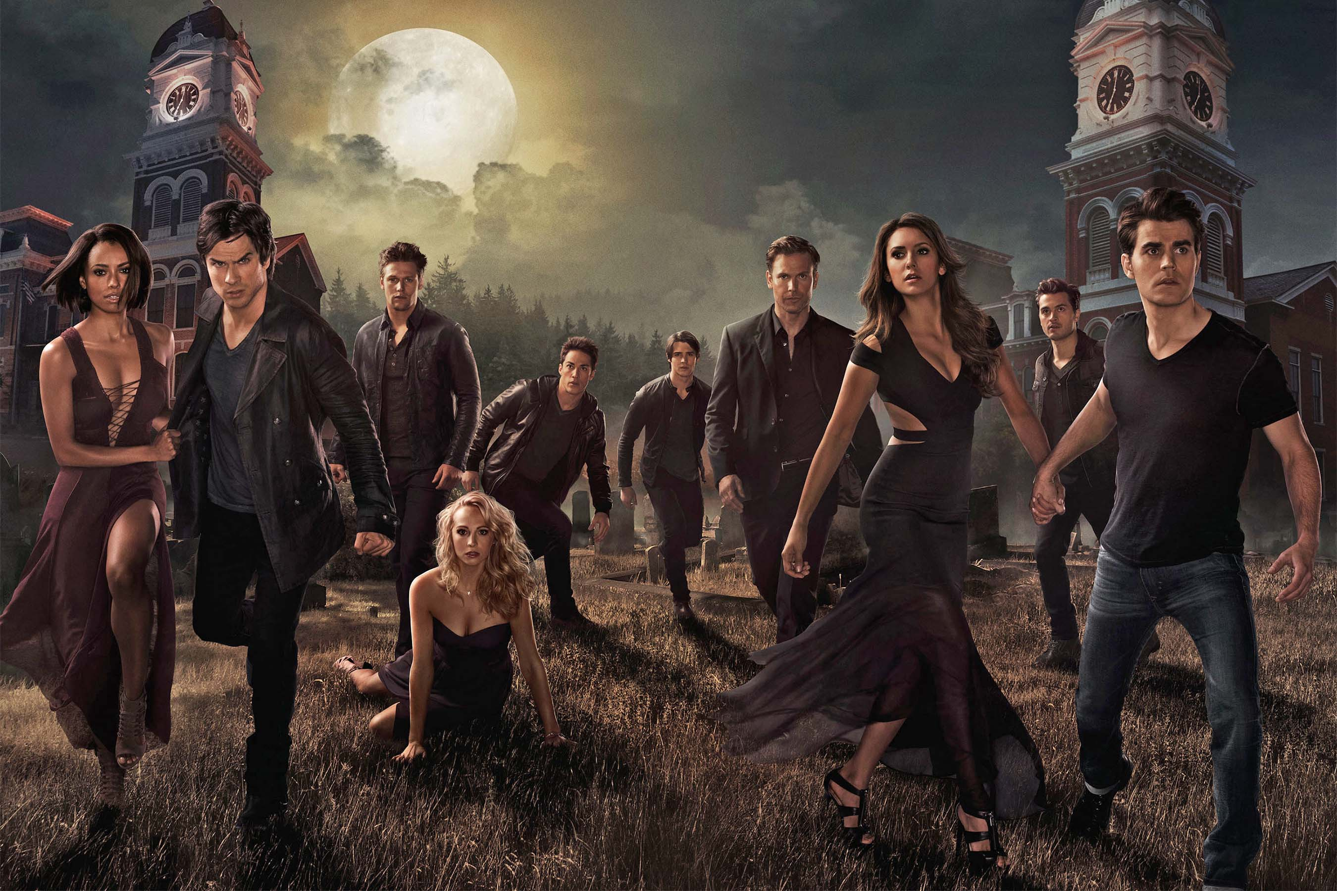 This shows the star cast of the famous series, the Vampire Diaries.