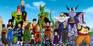 The image shows the different powerful dragon ball characters of the series