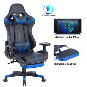 Blue Whale Massage Gaming Chair with Footrest