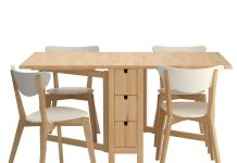 Image displays the Ikea dining table with basic colour tone.