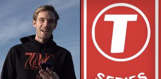 The image shows the two contenders on the online beef, PewDiePie and T Series