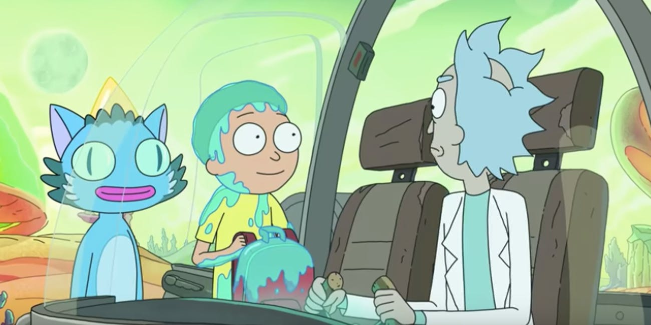 This image shows a still from the Rick and Morty Season 4 teaser.