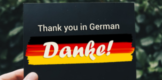 The Image shows how to say thank you in German with the flag of Germany