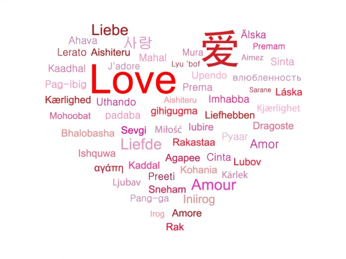 The image shows how to say love in various languages around the world!