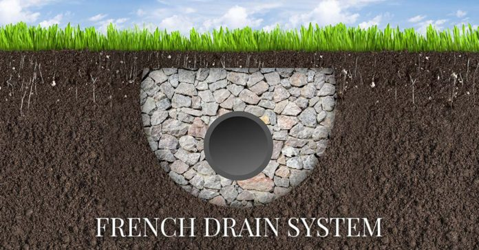 shows the animated french drain
