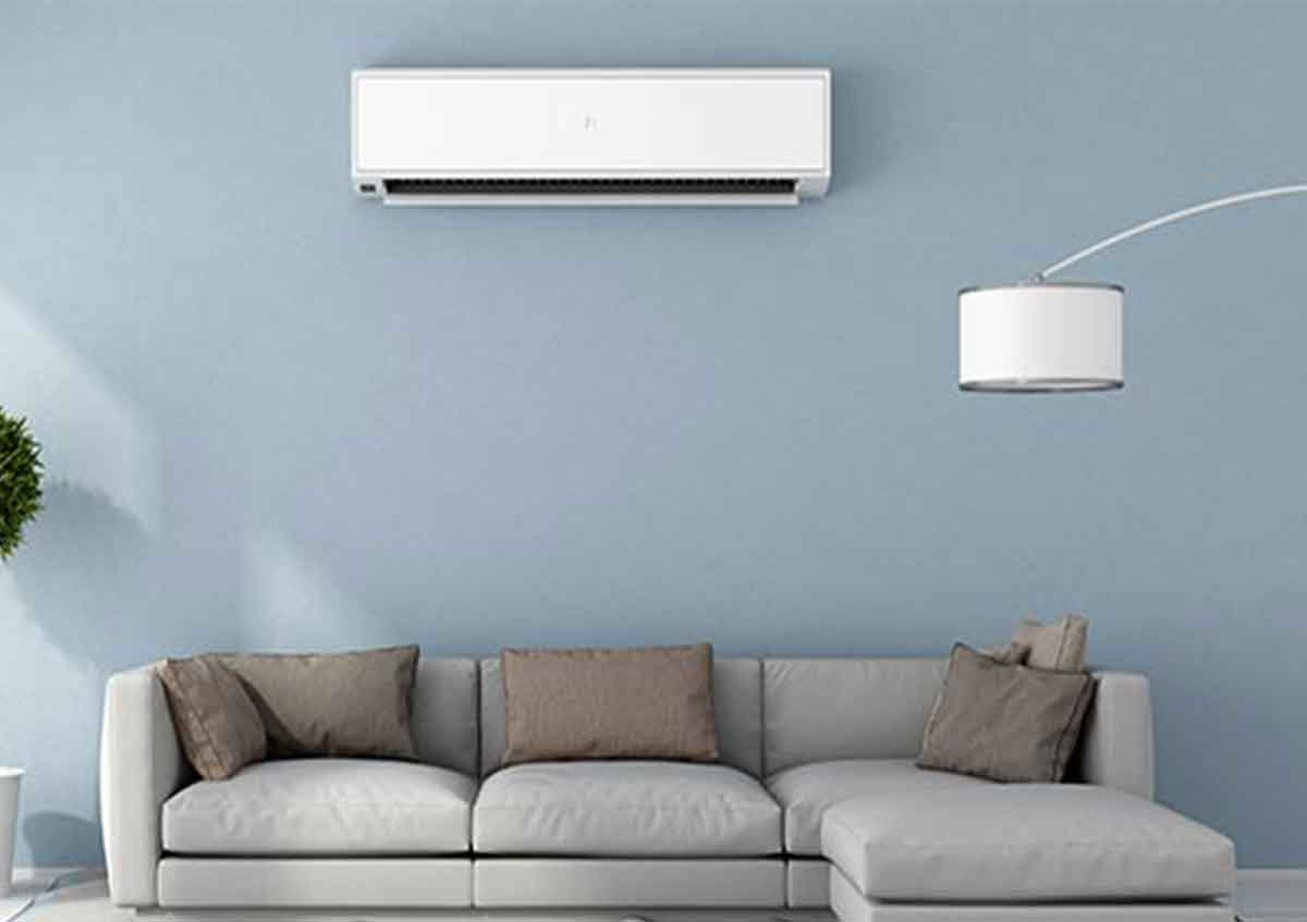 shows a room with ductless air conditioner